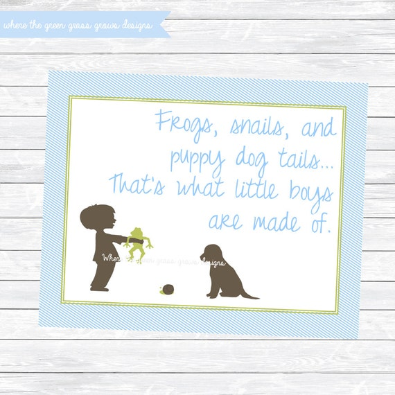 Frogs Snails and Puppy Dog Tails 8x10 Sign - Printable Instant Download