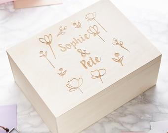 Engraved Meadow Personalised Keepsake Box