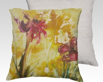 Abstract Red Poppies on Golden Yellow Background ~ Velveteen Decorative Pillow Cover 18x18 Romantic Unique Home Décor Accent Red Backside