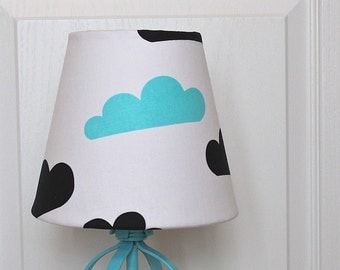Black and Blue Clouds Kids Lamp Shade