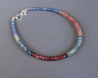 Genuine  blue & red Sapphire Bracelet 22 carat with silver clasp /7.25 inches