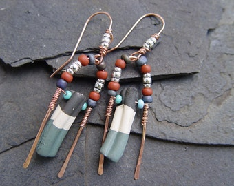 Artisan Stoneware Tribal Boho Earrings with Copper