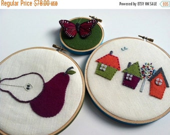 Christmas in July Sale Pear House Butterfly hand embroidered hoop art wall housewarming wall decoration home decor by mlmxoxo