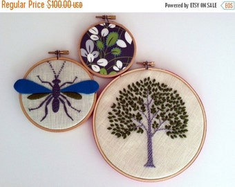On Sale Tree Wasp Leaves hand embroidered hoop art home decor wall decoration housewarming wedding gift by mlmxoxo