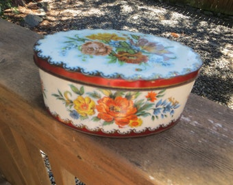 Oval Tin Box Container from England Floral Red Candy Tin Lovely Shabby Style Tin Box Daher Box