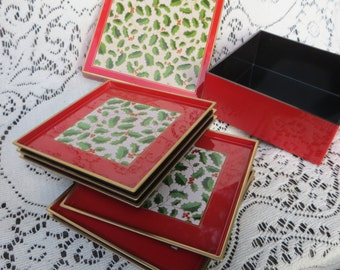 Lacquer Christmas Coaster Set From Japan Otagiri.  Holly Leaves Red with Box and Four Coasters