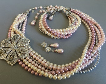 Blush Bridal Jewelry Set Necklace Bracelet Earrings Brooch 6 strands Pink Grey Mix Swarovski Pearls and Long Backdrop