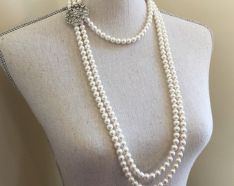 Long Pearl Flapper Necklace with Backdrop and Earrings Set 3 multi strands Swarovski Pearls Rhinestone Brooch Great Gatsby Downton Abbey