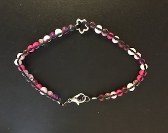 Pink flower beaded wrap bracelet