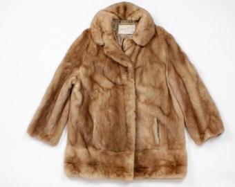 Mink Coat {As Is} Vintage Fur Collar Coat • 50s Fur Jacket | O215