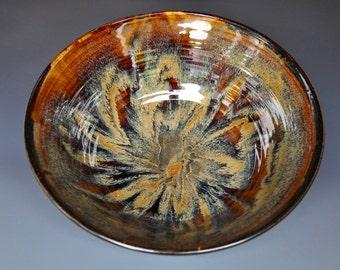 Dark Umber Ceramic Pottery Bowl Serving Bowl Salad Bowl D