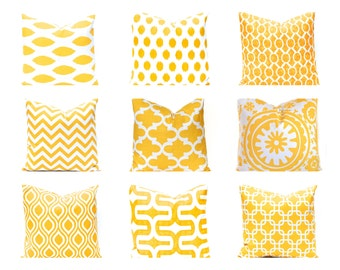 Yellow Pillow Covers, Decorative Throw Pillow Cover, 16 x 16 Inches - Yellow and White, Yellow Chevron, Yellow Cushion Covers, Nine Prints