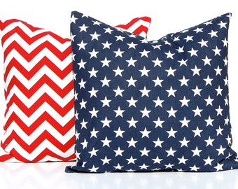 Patriotic Pillow Covers - Throw Pillow Covers - Red Chevron Pillow Cover with Blue and White Stars Pillow Cover - 4th of July Decor