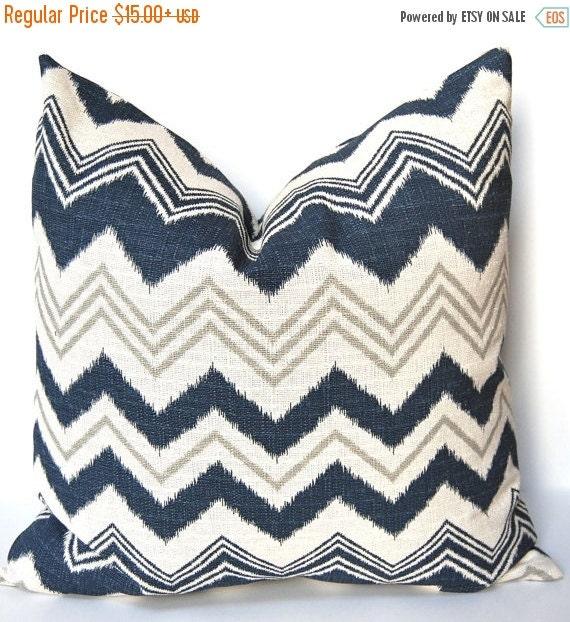 SALE Chevron Pillow Cover - Decorative Pillow Cover - Blue Throw Pillow Cover - Navy Taupe Chevron Cushion - Burlap Pillow Cover - Blue Pill