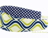 Reversible Fabric Headband- Children Toddler in Mod Navy Green Diamond