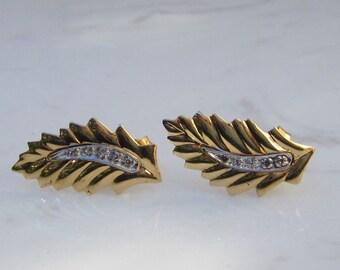 Estate 14k Solid Yellow Gold Diamond Leaf Pierced Earrings