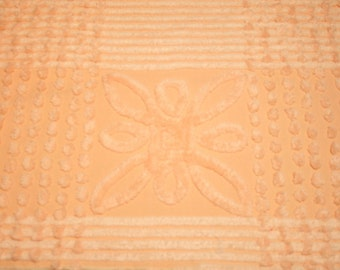 Yummy Peach and Cantaloupe Vintage Chenille Bedspread Fabric Piece with 2 Flowers - 54 by 16 Inches