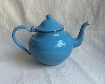 Vintage enamel teapot  blue teapot  cottage farmhouse prairie
