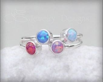 DUAL OPAL RING - dual birthstone ring, opal ring, mother's ring, birthstone ring, two birthstones, dual gemstone ring, sterling silver, gold