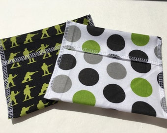 Reusable Snack Bag Set of Two Army Men Large Dots Eco Friendly