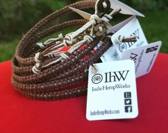 Brown Natural Hemp Bracelet, Hemp Anklet, Indie Hemp Works, Aromatherapy, Artisan Hemp, Friendship Bracelet, Hemp Jewelry, Gift