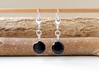 Black Drop Earrings on Leverback Earwires, Black Resin Lever Back Charm Earrings, Resin Jewelry Jewellery,Black Jewellery, UK, 604a