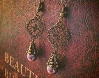 Vintage Inspired Purple Drop Earrings