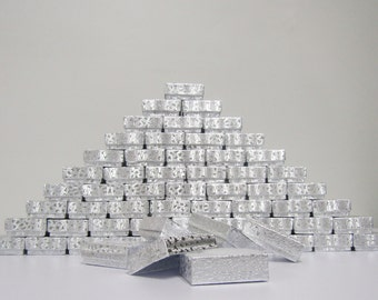 100 Pack Silver Boxes (2 x 1.5 x .75 in.) // ECONOMY SIZE //