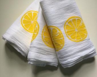 Lemon Kitchen towels set of 3 hand screened