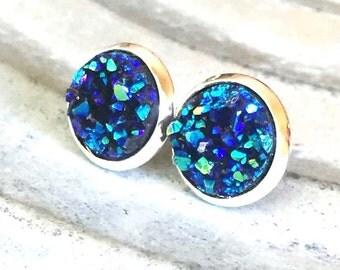 Druzy Stud Earrings - Blue Druzy Studs - Bridesmaid Druzy Earrings - Faux Druzy Studs - Raw Crystal Earrings - Druzy Bridal Earrings