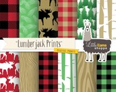 Lumberjack Digital Paper, Buffalo Plaid Digital Paper, Red and Black Flannel Plaid Pattern, Forest Scrapbook Paper, Commercial Use