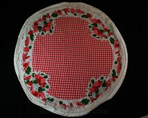 Round Tablecloth - 60 Inches Diameter - Vegetables Novelty Print - 1960s Circle Table Cloth - Veggies & Red Gingham - Circular - 45355