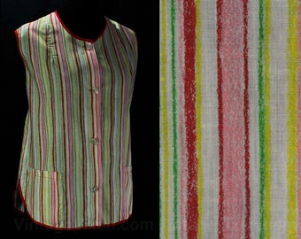 Size 14 Smock Apron - 1960s Striped Cotton Smock Top - Pink Red Yellow - Medium Large - Bust 41 - 1960s Housewife - NOS Deadstock - 46321