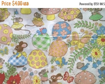 On Sale Adorable Forest Creatures Polyester Cotton Blend Fabric By the Yard X0317