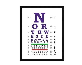 Eye Chart - Northwestern University - Art Print - Wall Art-  Poster - Wildcats
