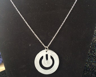 Power button pendant necklace