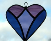 Abstract Stained Glass (Love Heart) in navy blue, grape and two tones of purple rippling water glass