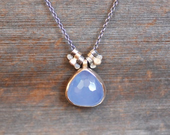 Blue Chalcedony Necklace - Chalcedony Dewdrop 14k Gold and Sterling Silver Necklace