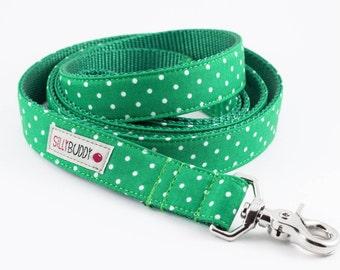 Kelly Green Dot Dog Leash