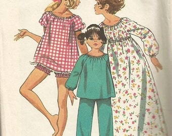 Vintage Simplicity 5126 Girls Gown, and Pajama Pattern SZ 6