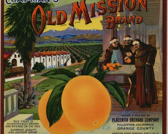 1940s Old Mission Monks CA Orange County California Citrus Crate Label