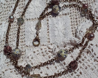 Antique Gold Chain Lanyard with Beautiful Crystals and Ornate Beads