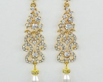 Bridal Chandelier Earrings, Swarovski Teardrop Pearls, Silver or Gold, wedding Jewelry, Annabelle - Ships in 1-3 Business Days
