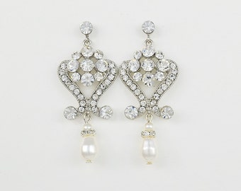 Bridal Crystal Earrings, Swarovski Pearls, Vintage Style Wedding jewelry, Stud Earrings, Aida - Ships in 1-3 Business Days