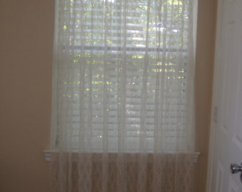 """Vintage Sheer Patterned Draperies, Two Panels, 53"""" x 81"""""""