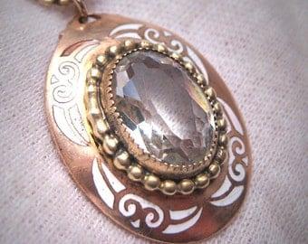 Antique White Sapphire Paste Necklace Vintage Art Deco Enamel 1920's