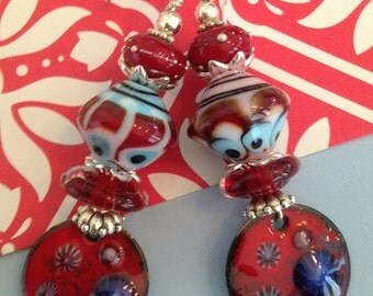Red and Blue Delight  Enamel Earrings.