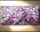 Purple Spring Tree Painting Canvas White Flowers Pink plum blossom Large Landscape Abstract Oil Thick Texture Gallery Art by OTO