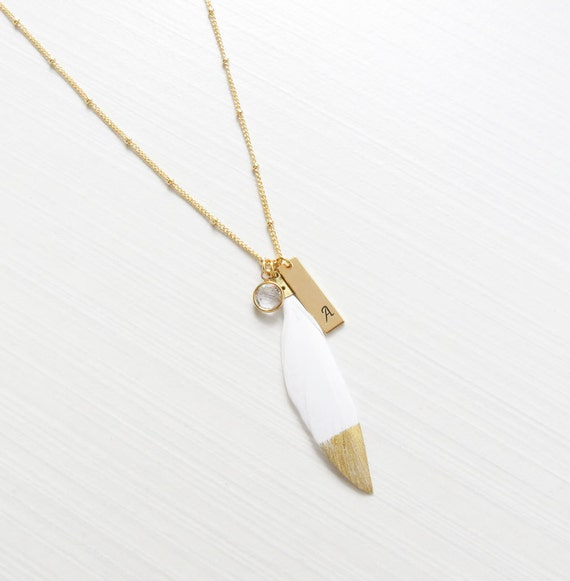 Stamped Initial Bar | Gold Dipped Feather | Custom Feather Necklace | Gold Stamped Initial | Black Feather necklace | White Feather Necklace