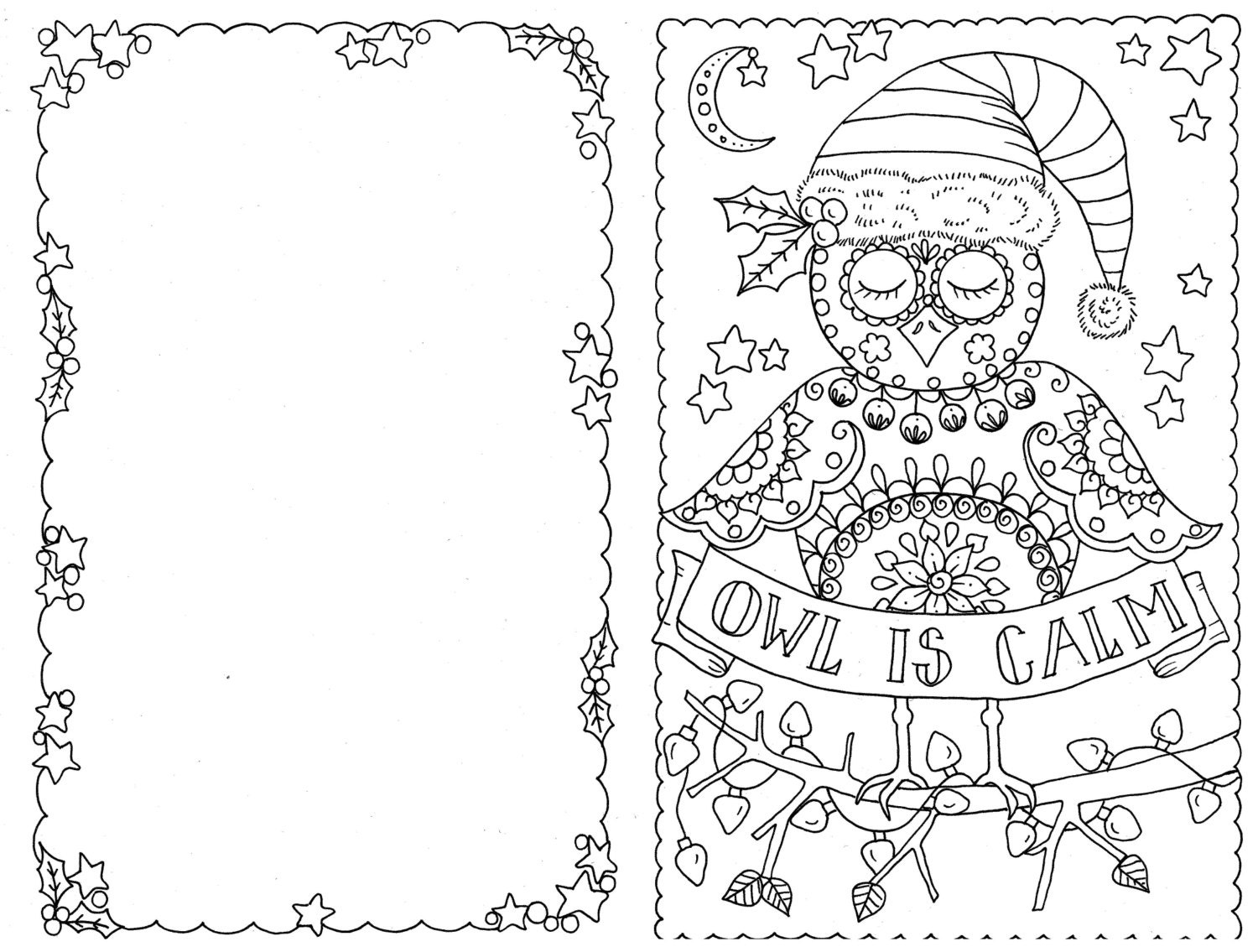 4 Cards to Color Owl Christmas Cards You be the Artist Color